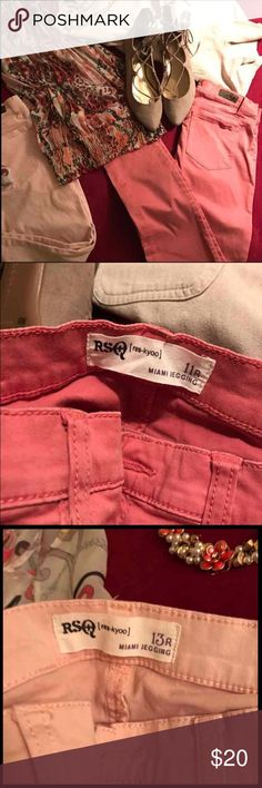 """RSQ Jeggings from Tilly's Great Condition! Wore once. 2 pair of RSQ Jeggings Size 11 & 13 """" awesome fit although they fit the same 🤔 but with GREAT stretch. The 11 fits more like an 8 and the 13 more like a 10. Colors are like a light peach and salmon. Were $40 each, selling both for $20 Tilly's Jeans Skinny"""