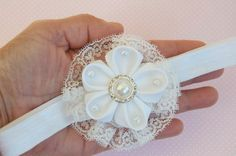 White baby headband - baby headbands - baby bows headband - infant headband - flower headband - baptism headband - newborn headband - 100