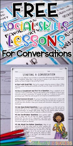 Use these four FREE lessons to teach conversation skills to kids and young adults. Lessons focus on how to start a conversation, using conversation-starters, finding things in common with others, and keeping a conversation going. This resource includes four complete activities with an educator guide and lesson plan.