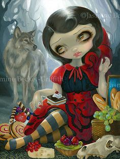 Jasmine Becket-Griffith art - Red Riding Hoods Picnic fairytale wolf