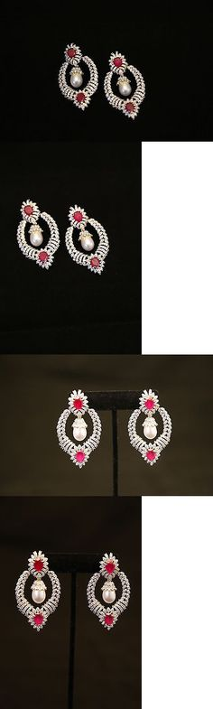 Earrings 98510: Ad Bollywood Indian Earrings Cubic Zirconia With Ruby Divalicious Brass Jewelry BUY IT NOW ONLY: $49.0
