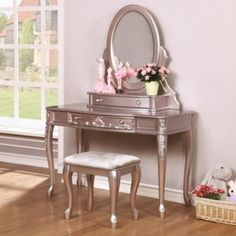 ee941f4164 Coaster Furniture Caroline Collection Cabriole Leg Vanity Desk with Options  for Mirror and Stool - COA3187