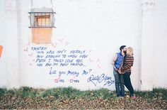 Are you planning on taking engagement photos or have a wedding? Get inspired with these love themed wedding and engagement photos. Engagement Couple, Wedding Engagement, Engagement Photos, Engagement Session, Wedding Photography List, Couple Photography, New York Graffiti, Wedding Reception Design, Washington Dc Wedding