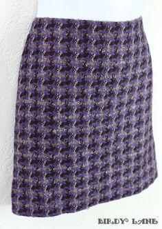 J Crew Wool Blend Pencil Skirt Purple Plaid Boucle #JCrewPencilSkirt #BirdyLane