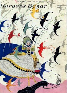 Harper's Bazar 1917-04 'Fashions from the Paris Openings' Woman holding onto her hat as the wind blows open her voluminous skirts; birds of many abstract solid colors fly