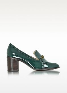 TORY BURCH BERLINE JITNEY GREEN PATENT LEATHER LOAFER. #toryburch #shoes #berline jitney green patent leather loafer