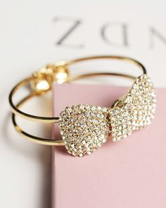 Fashion Gold Plated Bow Bracelet Bling Shiny Crystal Bangles & Bracelets Metal Alloy Women Bangle Jewelry for Wedding The Bangles, Gold Plated Bracelets, Bling Bling, Bow Bracelet, Bangle Bracelets, Jewelry Accessories, Fashion Accessories, Fashion Jewelry, Women Jewelry