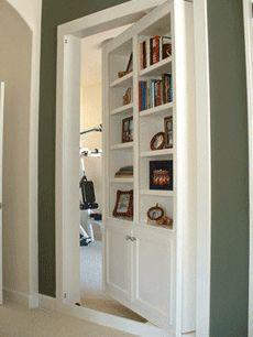 a hidden door is crucial - Traumhaus Zimmer Hidden Spaces, Hidden Rooms, Panic Rooms, Bookcase Door, Safe Room, Cool Doors, Secret Rooms, My New Room, Design Case