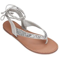 85b4addc50e8 Yoins Silver Glitter Embellished Lace-up Flat Sandals (33 CAD) ❤ liked on