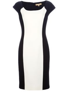 Black wool blend shift dress from Michael Kors featuring a scoop neck, short capped sleeves, a rear zip fastening, a contrasting white colour block panel to the front, a slim fit bodice and a knee length straight skirt. by farfetch Love Fashion, Womens Fashion, Fashion Design, Fashion Trends, White Fashion, Panel Dress, Block Dress, Crepe Dress, Couture Fashion