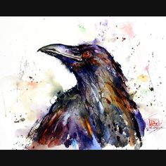 TROUBLE 8 x 10 Ceramic Tile with RAVEN by DeanCrouserArt on Etsy, $39.00