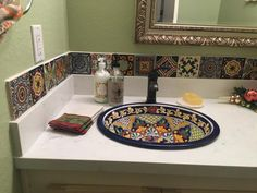 Mexican tiled bathroom w/talavera sink--Perfect look for our guest bathroom.    Southwest Decorating Ideas   Pinterest   Mexicans, Sinks and House