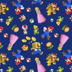 Nintendo Super Mario 2 Character Toss Navy 100 Cotton Fabric by The Yard for sale online Super Mario Birthday, Super Mario Bros, Scooby Doo Toys, Lion King Movie, Nintendo Characters, Mario Party, Mario And Luigi, Mario Brothers, Sewing Projects For Kids