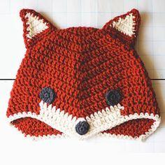 Crochet For Children: Fox Hat. Free Crochet Pattern by concepcion Crochet Kids Hats, Crochet Beanie, Knit Or Crochet, Cute Crochet, Crochet Crafts, Crochet Projects, Crocheted Hats, Knitted Hat, Crochet Animals