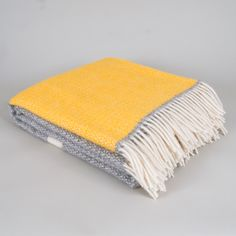 Yellow and Grey Wool Blanket - now back in stock :)