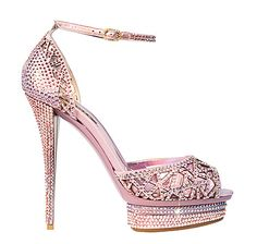Le Silla pink crystal ankle strap heels