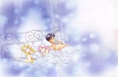 """""""Three people and one animal seeing happy dreams. When this drawing was being placed in the preface (hey! I'm reopening the series! it's no time for sleeping ^_^) I got a lot of complaints. (Also I thought the series was going to be discontinued.)  Maybe it was saved because of the anguished outcry from the Osabu director…  Osabu and Naoko both sleep a lot. And then we pass a lot of time asleep. AAAH how terrible."""""""