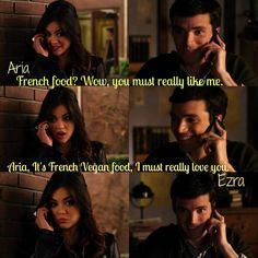 "Ezra and Aria....""Do you think he really loves her? Or was it all apart of the plan?"" I say he didn't at first but after a while he did and he did actually stop writing the book. I don't think he would go unemployed if he didn't love her."