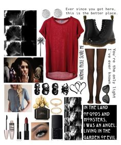 """""""Ahs"""" by christinalxv07 ❤ liked on Polyvore featuring Vince, Fogal, Dr. Martens, Maybelline, Elizabeth Arden, NARS Cosmetics, Marc Jacobs, Forever 21, Linda Farrow and women's clothing"""