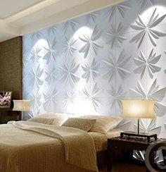 lindo quarto decorado com revestimento 3D em cimentício