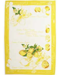 Authentic Italian kitchen towel features a bright yellow and green lemon design with a fun yellow border from Sur La Table.