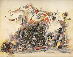 """War - 1947 - Ink and colored pencil on paper - 20 5/8"""" X 26"""" - Metropolitan Museum of Art New York - Copyright P-KF/ARS"""