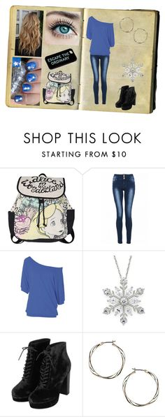 """""""first day blues"""" by sapphire888 ❤ liked on Polyvore featuring Disney, Quiz, Topshop, Dorothy Perkins, Wet n Wild and Kate Spade"""