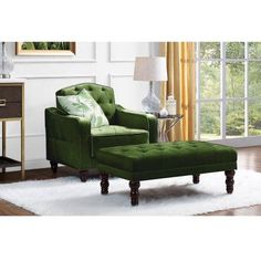 Novogratz Vintage Tufted Ottoman, Green Tufted Ottoman, Wingback Chair, Sleeper Sofa, Wood Design, Vintage Designs, Accent Chairs, Upholstery, Living Room, Furniture