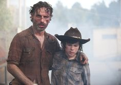 Rick Grimes (Andrew Lincoln) and Carl Grimes (Chandler Riggs) in Episode 8 of The Walking Dead