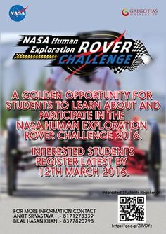 A GOLDEN OPPORTUNITY FOR STUDENTS TO LEARN ABOUT AND PARTICIPATE IN THE  NASA HUMAN EXPLORATION ROVER CHALLENGE 2016. INTERESTED STUDENTS REGISTER LATEST BY 12TH MARCH 2016. http://www.galgotiasuniversity.edu.in/