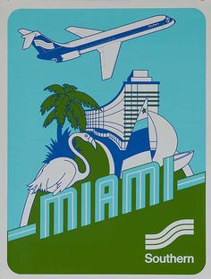 Southern Airlines to Miami Vintage Advertisements, Vintage Ads, Vintage Airline, Vintage Prints, Airline Travel, Travel Usa, Air Travel, Vintage Beach Posters, Poster Vintage