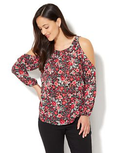 Shop Tie-Sleeve Cold-Shoulder Blouse - Floral Print. Find your perfect size online at the best price at New York & Company.
