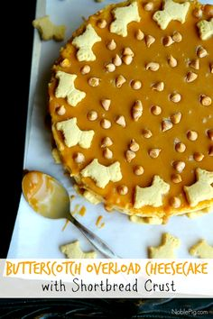 Butterscotch Overload Cheesecake with #WalkerShortbread Crust from NoblePig.com