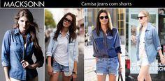 Bom dia! Inspire-se no look total denim. Camisa + shorts jeans é tendência garantida!