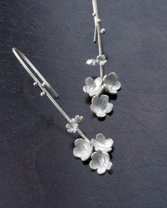 plum blossom earrings by oborodesigns on Etsy