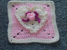 Amber's Heart Crochet Granny Square Pattern