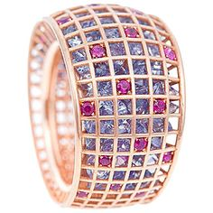 Purple Sapphire Ruby Gold Ring   From a unique collection of vintage fashion rings at https://www.1stdibs.com/jewelry/rings/fashion-rings/