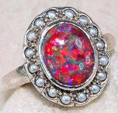 Red Fire Opal, Seed Pearl & 925 SOLID STERLING SILVER ring