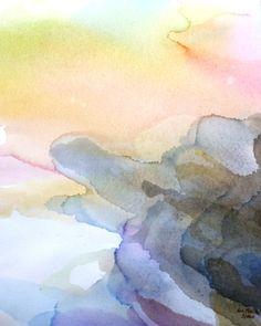 Abstract watercolor coastline