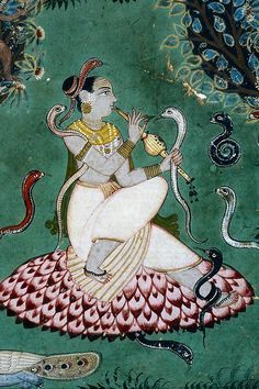 Asavari Ragini (detail). From a Ragamala series, Opaque watercolor and gold on paper, Malwa, Central India, late 17th century, Museum of Fine Arts, Boston