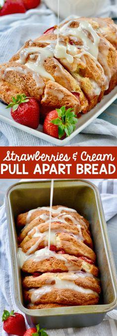 Strawberries And Cream Pull Apart Bread
