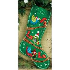 @Overstock - DIMENSIONS-Felt Applique Kit: Stocking. Classic designs and high- quality materials make up each Dimensions kit. This kit contains die-cut felt; pre-sorted thread; needle; and easy instructions with an alphabet. Design: Fa La La Birds Stocking.http://www.overstock.com/Crafts-Sewing/Fa-La-La-Birds-Stocking-Felt-Applique-Kit-19-Long/6793162/product.html?CID=214117 $13.29