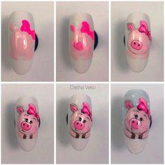 ideas fails design new years art tutorials Pig Nail Art, Pig Nails, Animal Nail Art, New Year's Nails, Hair And Nails, Gel Nail Designs, Cute Nail Designs, Nail Art Disney, Matte Nail Art