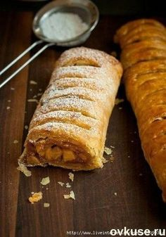 Apple Strudel, in memory of Germany Fun Baking Recipes, Cake Recipes, Dessert Recipes, Strudel Recipes, Western Food, Pastry Cake, No Bake Desserts, Food Pictures, Baked Goods