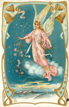 """""""Every time a bell rings, an Angel gets her wings."""" ---Zuzu Bailey, """"It's a Wonderful Life. Vintage Christmas Images, Christmas Past, Victorian Christmas, Retro Christmas, Christmas Angels, Christmas Greetings, Xmas, Images Victoriennes, Victorian Angels"""