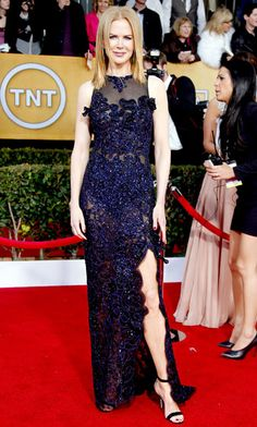 Nicole Kidman dazzled in Vivienne Westwood's navy sleeveless gown at the 2013 SAGs.