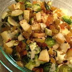 Roasted Apples and Brussels Sprouts --- sweet onions, apples, brussels, and a pack of raw bacon chopped on top. At the end top with lemon juice and zest