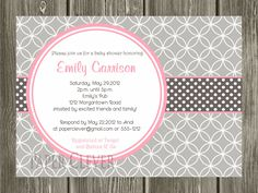 Modern Circle Pink and Grey baby shower invitation - digital file, printable,DIY. $12.00, via Etsy.