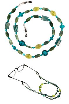Never Lose Your Glasses Again! Beaded Glass Eyeglass Chain Holder Fashion Lanyard Necklace, Jade Green  glass, shell & plastic beads in green tones; metal clasp, 26 inches #necklaces