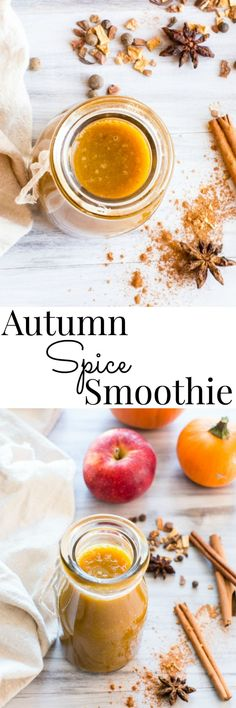 Apple cider and Rooibos tea pairs with pumpkin and spices, apple and banana to create a warm or chilled Fall smoothie | Autumn Spice Smoothie | Vanilla And Bean